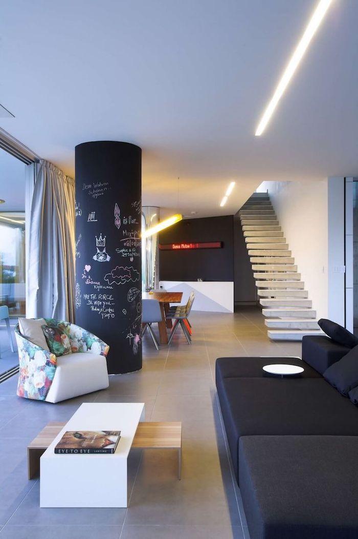 eine Säule in Tafelfarbe mit kleinen Zeichnungen bemalt eine schöne Dekoration in Wohnzimmer