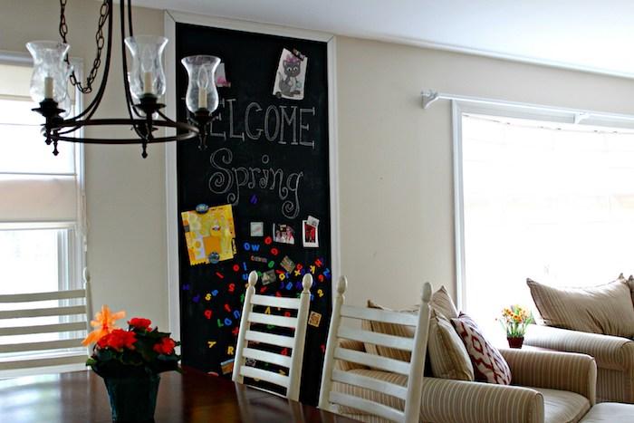 Sie können thematische Aufschriften an der Wand in Tafelfarbe schreiben
