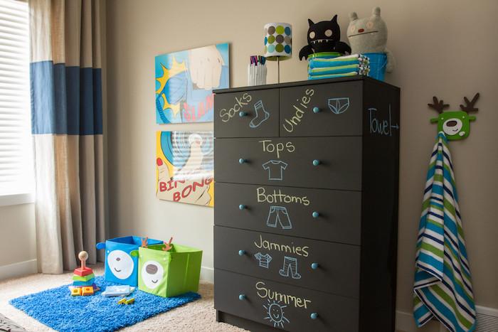 ein Regal mit Aufschriften auf Tafelfolie, damit die Kinder Ihre Kleidung finden
