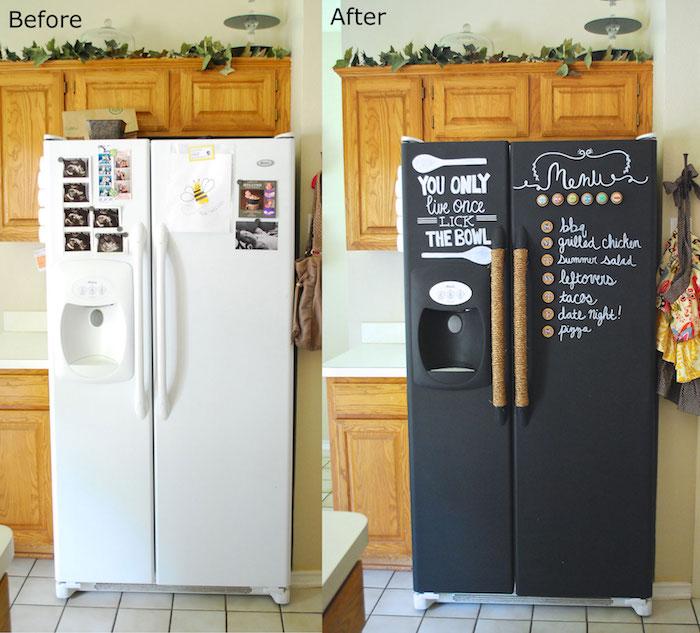 ein Kühlschrank bevor und nach man ihm mit Tafelfolie bearbeitet hat