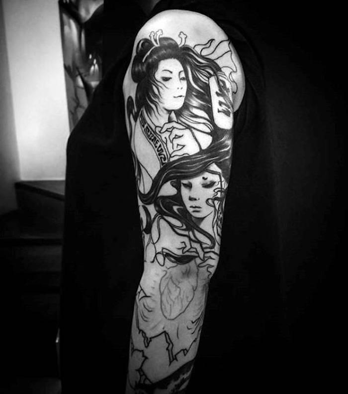japanische tattoos in schwarz und grau, geisha tattoo an dem ganzen arm