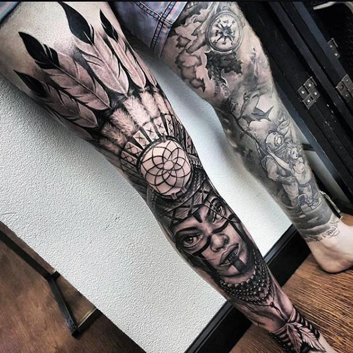 tattoo motive männer, beine tätowieren, tätowierungen mit indianischen motiven