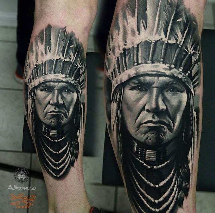tattoo motive männer, tätowierung mit indianischem motiv am bein