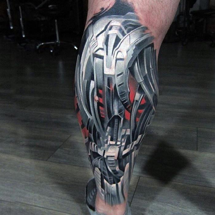 tattoo bein, biomechanische tätowierung stechen lassen, tattoos für männer, biomechanik tattoo bein