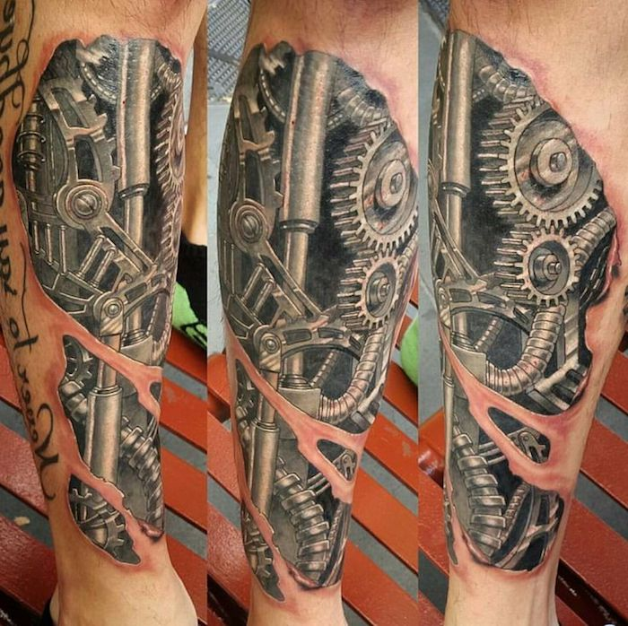 tattoo bein, mann mit tätowierung mit maschinenteilen, cyborg tattoo