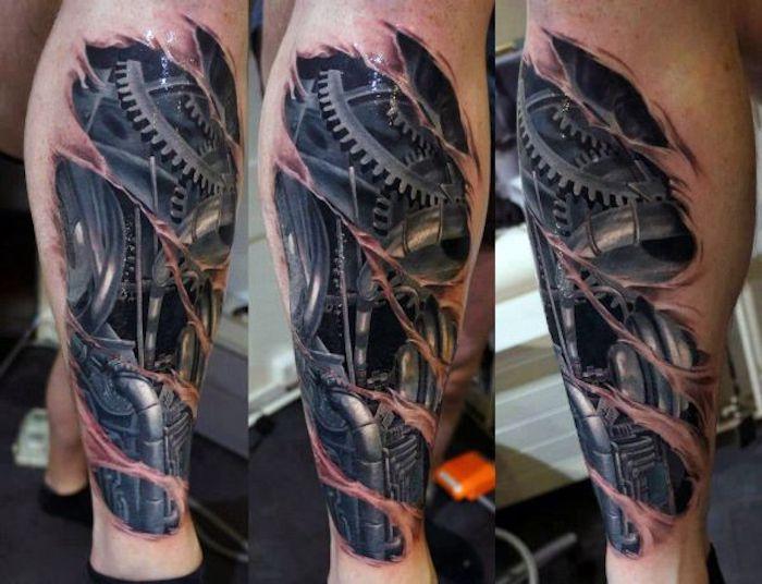 tattoo bein, mann mit 3d tätowierung mit roboter-motiv