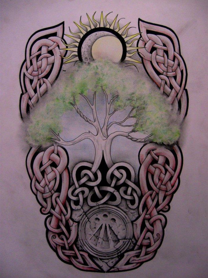 eine Zeichnung von dem Baum des Lebens und die Sonne und der Mond darauf