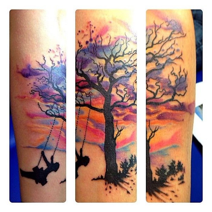 baum tattoo unterarm aquarell temporre tattoo aquarell. Black Bedroom Furniture Sets. Home Design Ideas