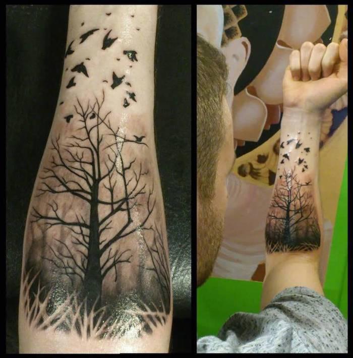 Lebensbaum Tattoo in einem Wald mit Vögel die losfliegen am Unterarm