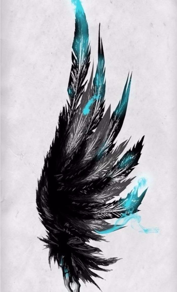 Vorlage für eine Tätowierung, Flügel mit schwarzen und blauen Federm