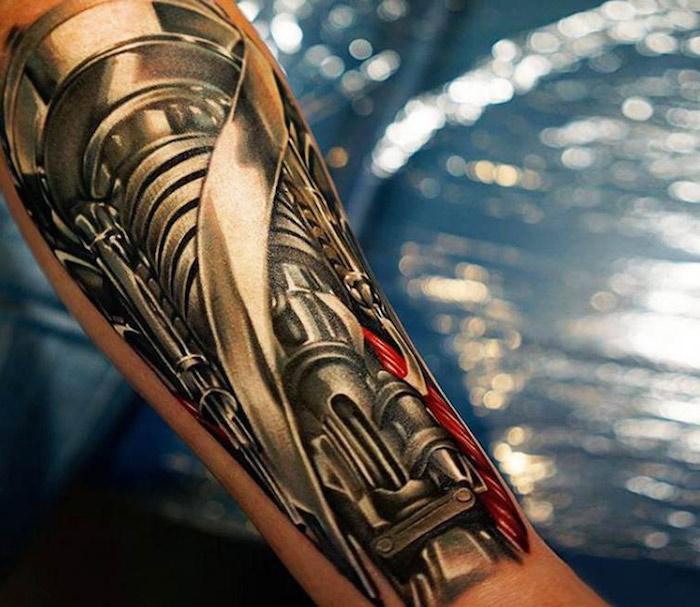 tattoo motive männer, cyborg tattoo stechen lassen, tätowierung am unterarm