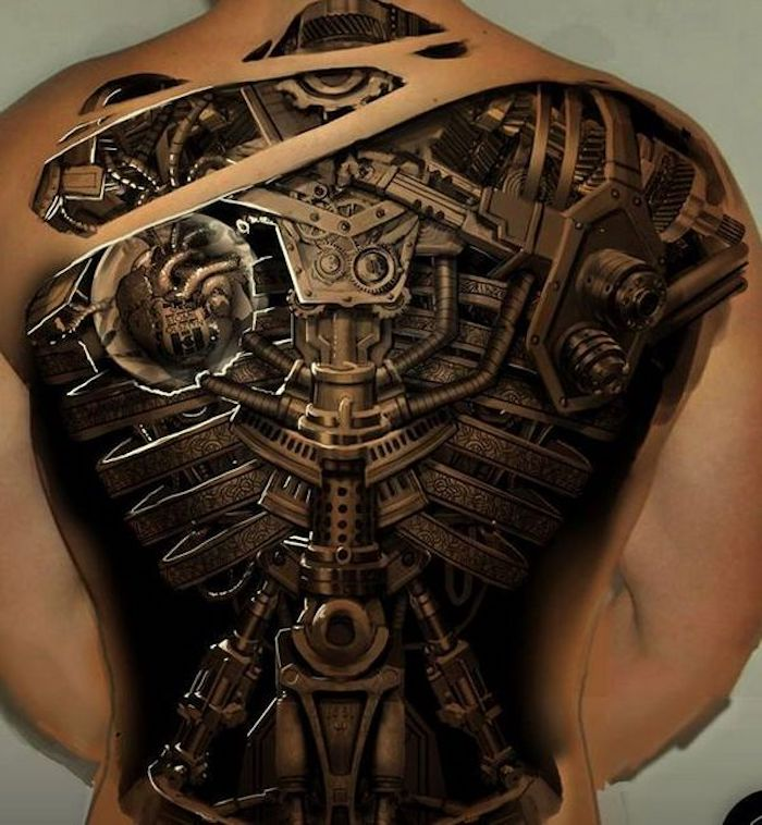 tattoo motive männer, den ganzen rücken tätowieren lassen, biomechanische tätowierung