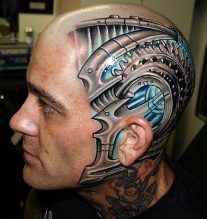 tattoo motive männer, mann mit 3d tätowierung am kopf