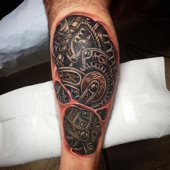 tattoo motive männer, bein tätowieren, 3d tätowierung