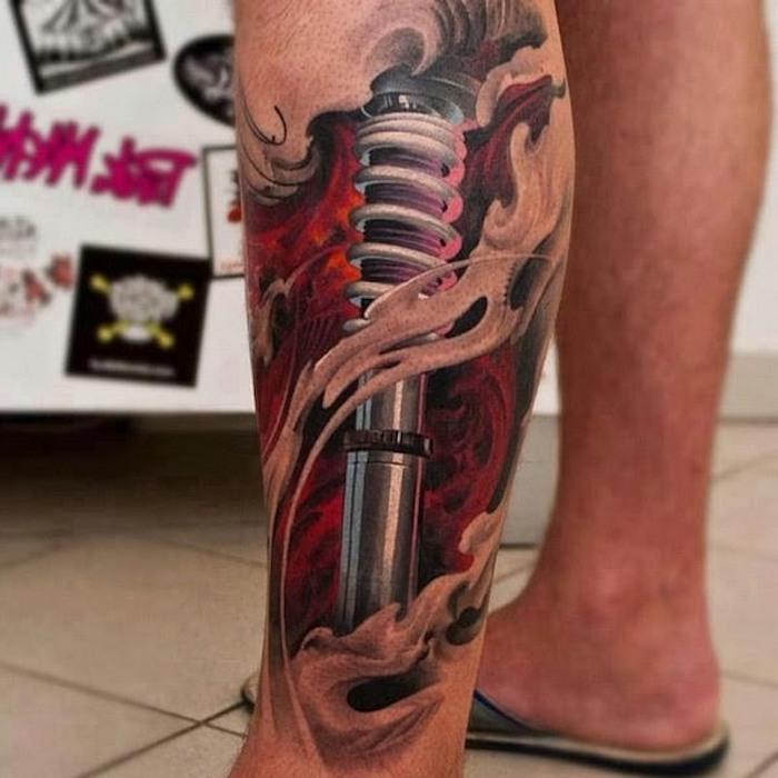 tattoo bein, farbige biomechanische tätowierung, 3d tattoo