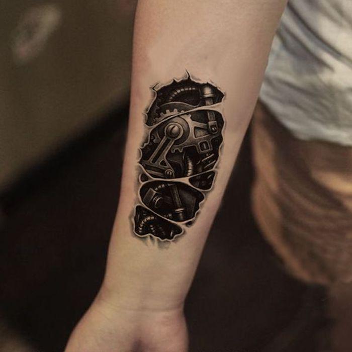 männer tattoos, kleine tätowierung in schwarz und grau am unterarm