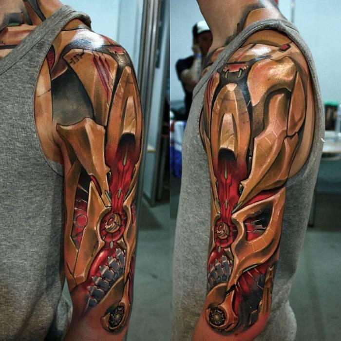 tattoos oberarm, dreidimensionale tätowirung mit grellen farben, biomechanik tattoo design