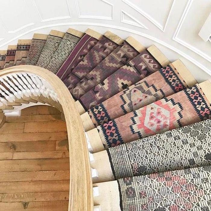 traumteppich ideen zum gestalten treppe mit kilim läufer in verschiedenen dessins