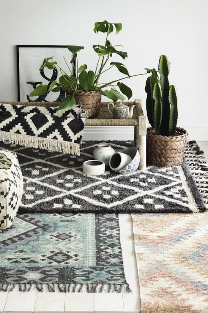 teppich grau türkis idee weiß schwarze gestaltung grüne pflanzen idee orange