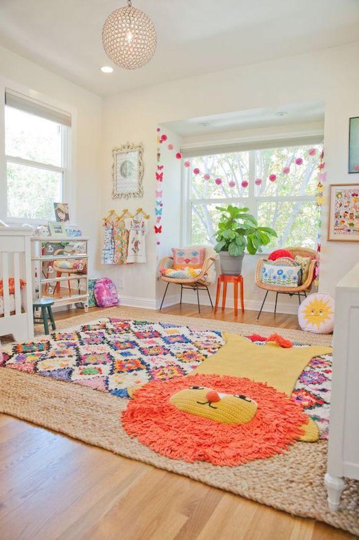 teppich gold löwe dekorationen buntes design farben im kinderzimmer deko ideen