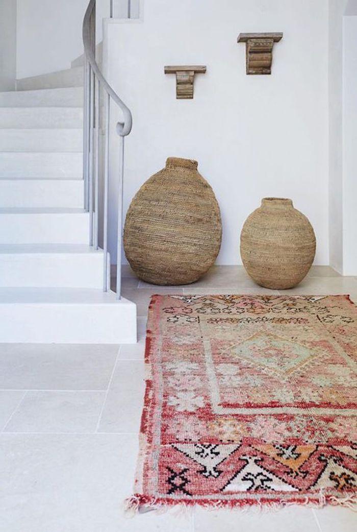teppich traum ideen ethno look des zuhauses treppe in weißer farbe teppiche
