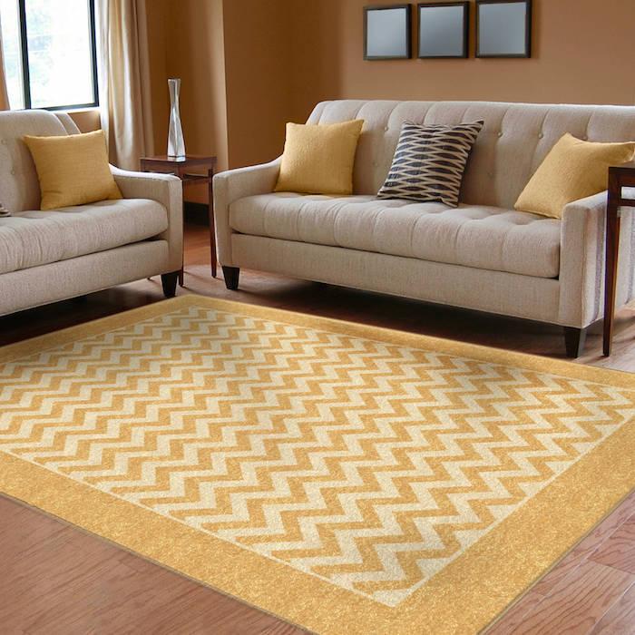 teppich gelb grau idee gelbes sofa deko kissen trendy teppichideen gestaltung