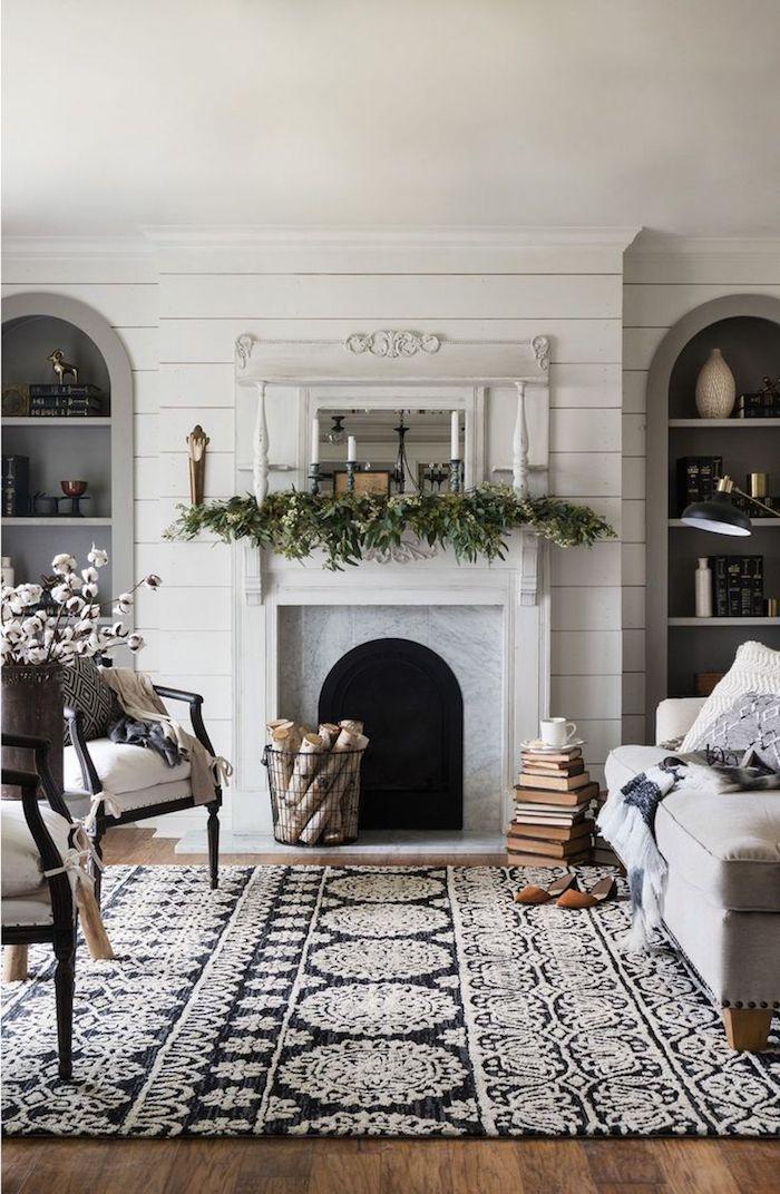 trend teppich idee schöne gestaltung dekorationen weiß-schwarzer teppich idee