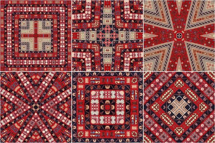 teppiche online ideen bunte muster rote farben ideen schöne dekorationen figuren