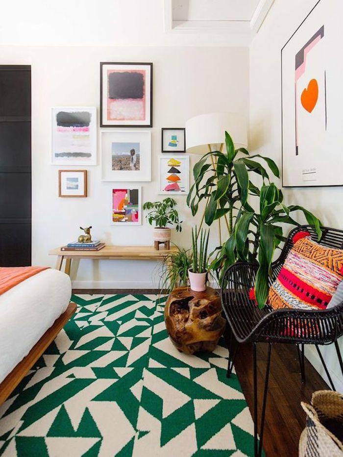 trend teppich idee grün beiges design des teppichs zuhause pflanze idee wanddeko