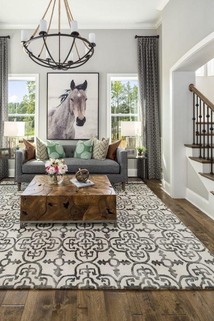 elegante ausführung teppich idee bezauberndes design lampe wanddeko bild pferd