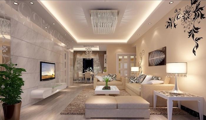 teppich gelb grau idee luxuriöses design wanddeko in schwarz idee einrichtung fernseher