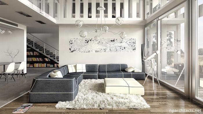 teppich beige kurzflor idee weißer teppich graues sofa kissen ideen lampe design idee