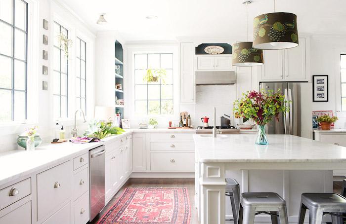 teppiche online bunte gestaltungsideen in der küche wohnküche in weiß mit läufer