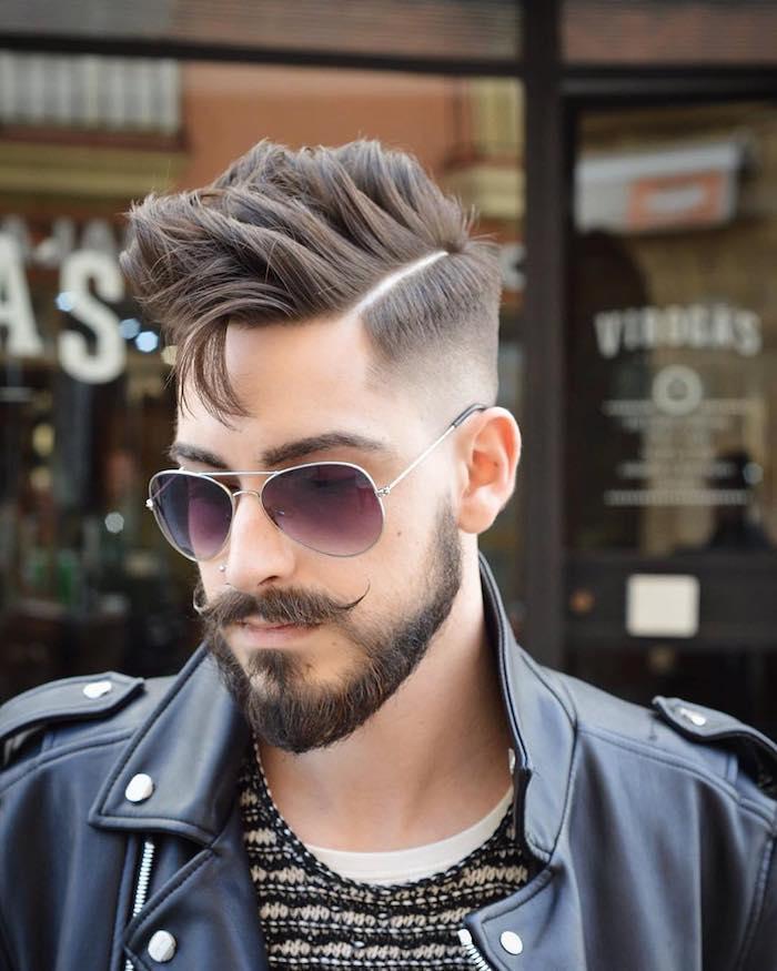 mens undercut hippie stil schnurrbart mustache bart sonnenbrille lederjacke idee