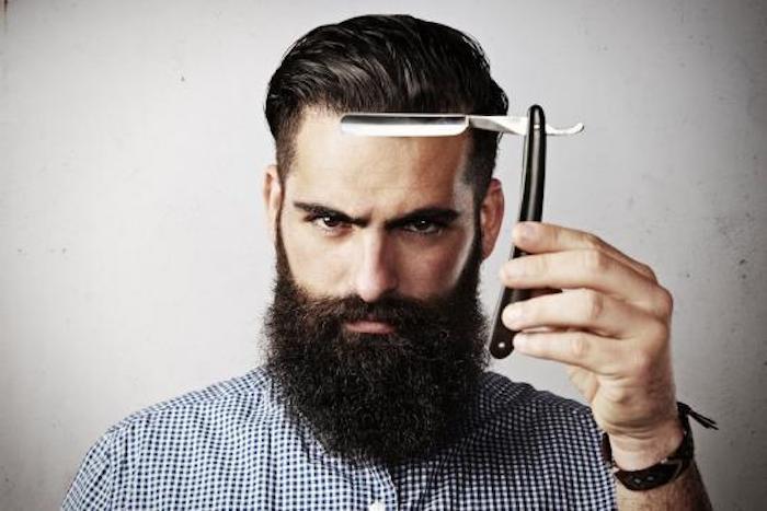 sidecut männer haare selber stylen lange bärte schwarze haare und bart ideen