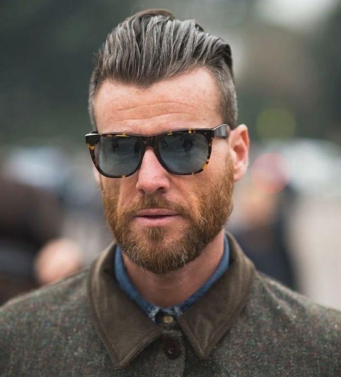 kurzer undercut haare und bart schön stylen ideen für männer hipster stil sonnenbrille