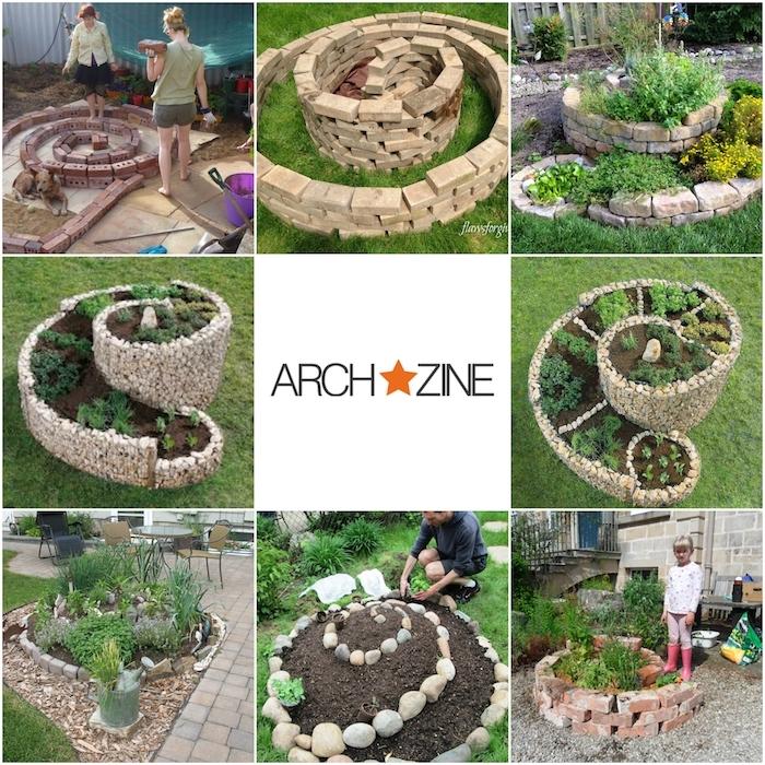 wir zeigen ihnen hier einige unserer ideen zum thema gartengestaltung - kräuterspirale selber bauen mit grünen verschiedenen pflanzen und kleinen steinen