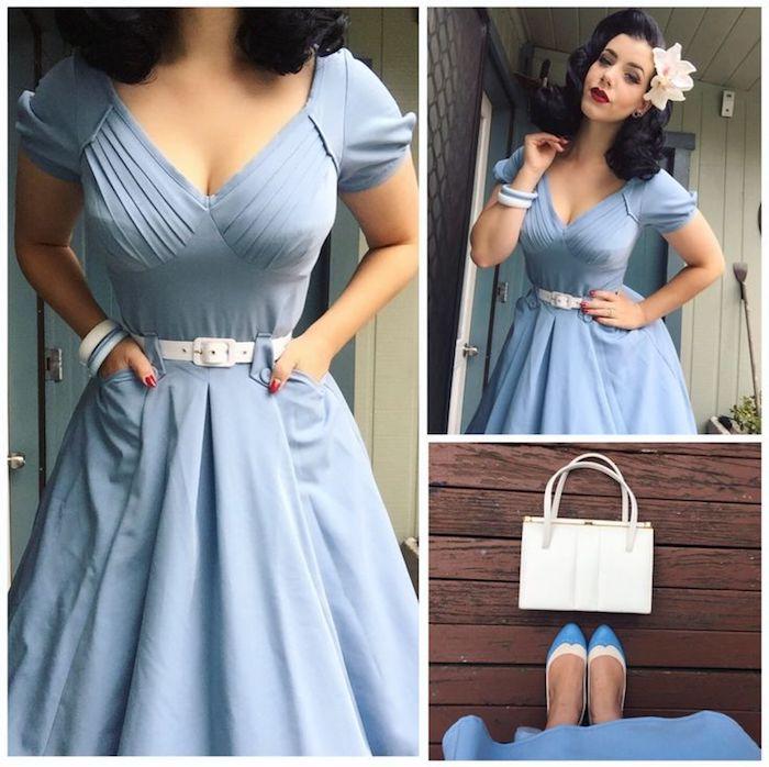 Rockabilly Look, hellblaues langes Kleid mit Plissee-Ausschnitt, weißer Gürtel
