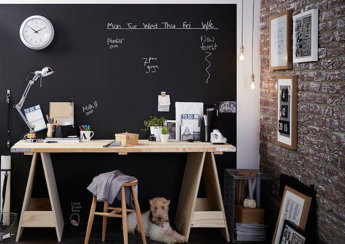 ein Arbeitszimmer mit einer Wand in Tafelfarbe, wo die Verabredungen zu merken