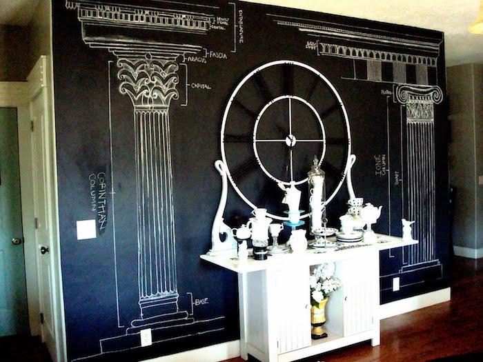 an einer Wand in Tafelfarbe kann man seine Hausaufgaben machen