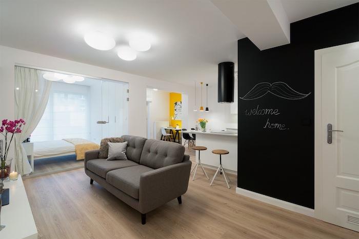 ein Schnurrbart sagt uns willkommen in einer kompakten Einzimmerwohnung