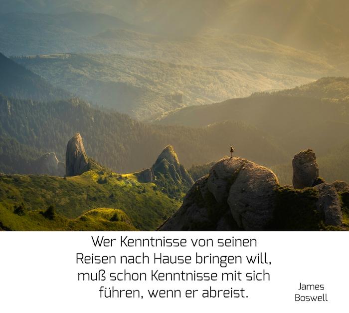 hier ist ein märchenhaftes bild mit einem reisenden mann und bergen und einem spruch zum nachdenken von james boswell
