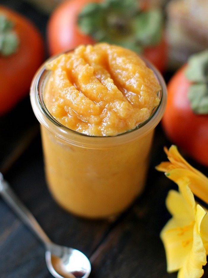 dessert selber machen, püree aus persimone, natisch im glas