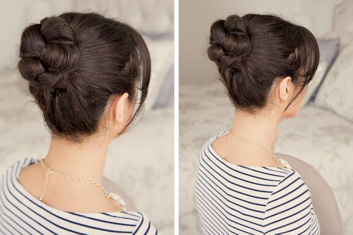 ein braunes Haar in einer geflochtenen Hochsteckfrisur - Wiesn Frisuren
