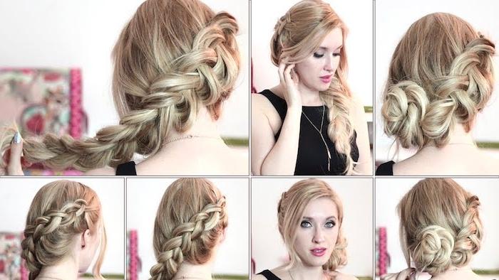 in sechs Schritte eine Flechtfrisur für blondes Haar selber machen - Wiesn Frisuren