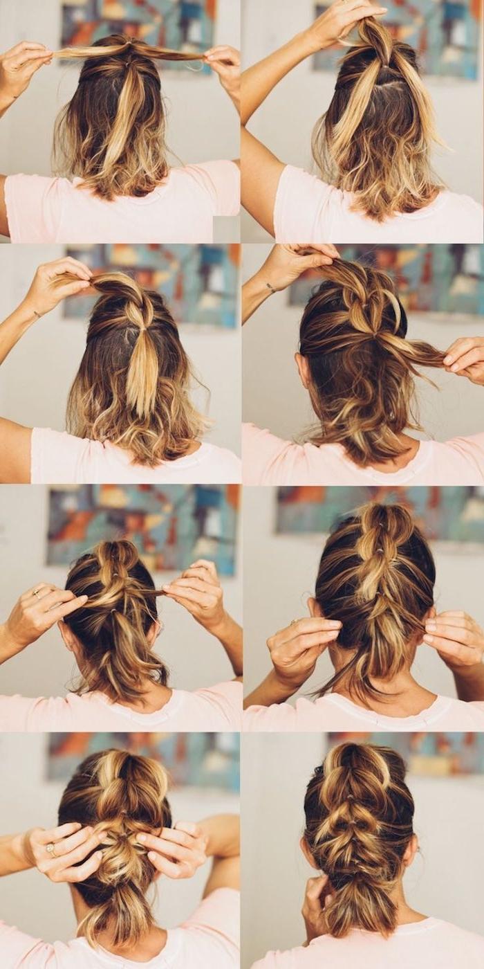 wie aus drei Strähne eine komplizierte Flechtfrisur selber zu schaffen - Frisur mit Haarband