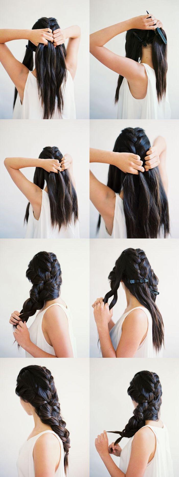 schwarze Haare ein Zopf aus drei Bestandteilen eine Anleitung zum Nachmachen