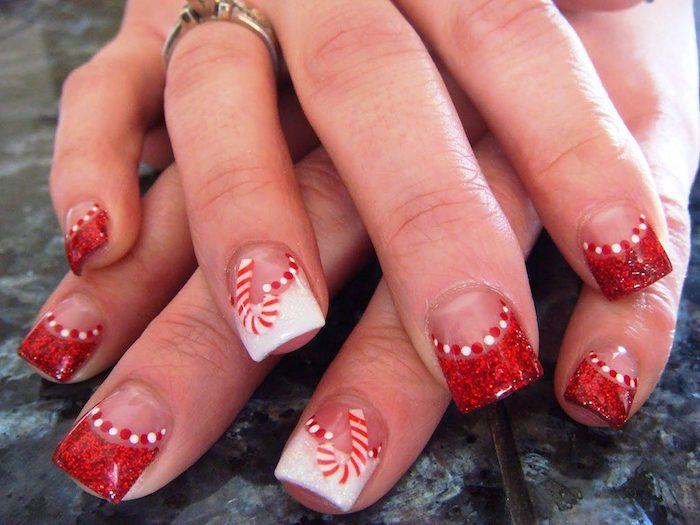 nageldesign sterne rote und weiße maniküre spitzen mit farbe french nägel lutscher