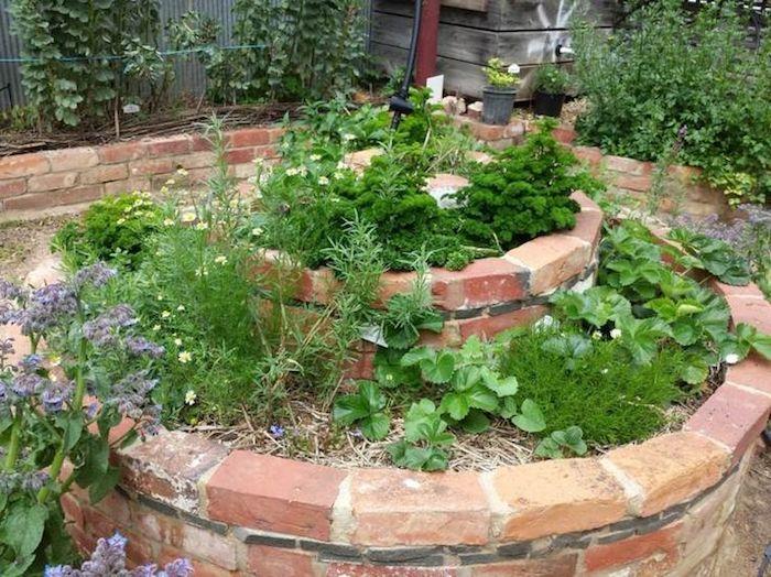 wir empfehlen ihnen einen blick auf diese idee zum thema kräuterspirale mit grünen pflanzen und kleinen kräutern und kleinen steinen