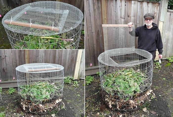 auf diese weise kann jeder von uns einen komposter selber bauen - hier ist ein alter mann und seinen selbstegebauten kompostern aus metall mit grünen blättern und pflanzen